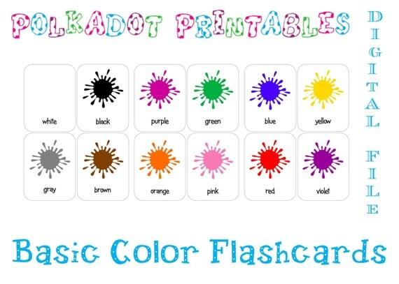 El Dorado Blue Card >> Printable Basic Color Paint Splash Flashcards - Set of 12 - Instant Download - PDF by Polkadot ...