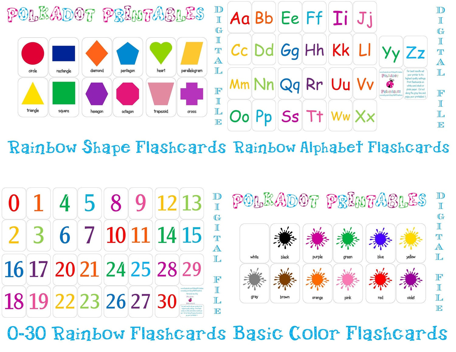 Printable Shapes Flashcards Printable Flashcards Combo