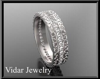 Unique Wedding Band,Diamond Wedding Band,Eternity Wedding Band,Womens Wedding Band,14K Gold Wedding Band,Designed Ring,Diamonds Band
