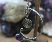 Hand Made Copper Wire Karma Earrings with round Natural Amethyst plated in Gun metal .
