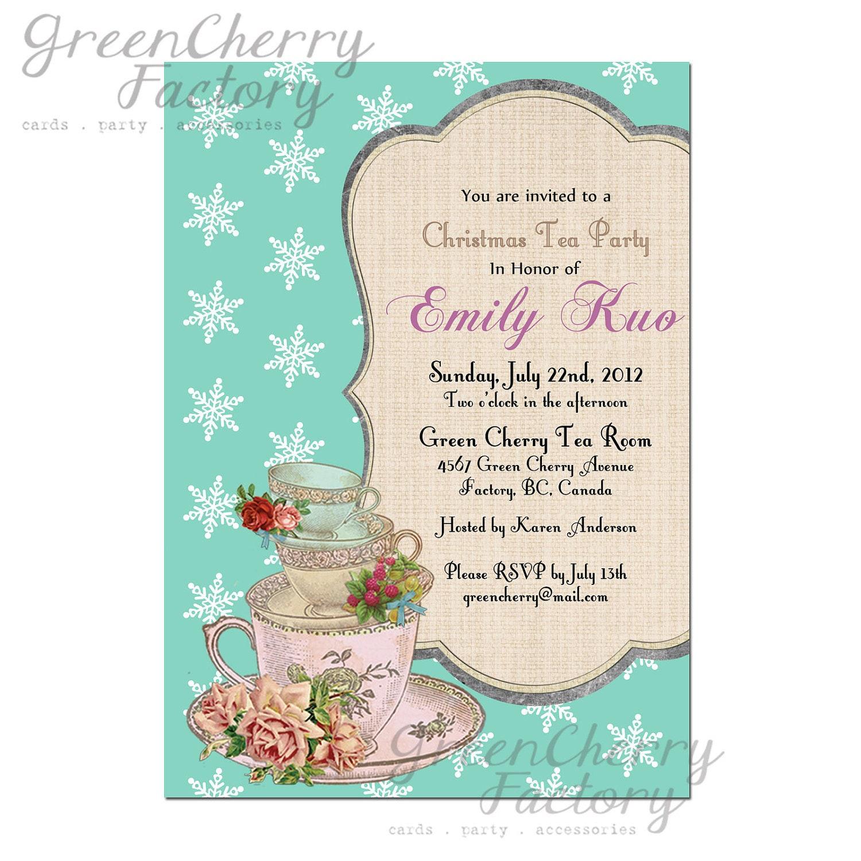 Christmas Tea Party Ideas: Items Similar To Christmas Tea Party Invitation