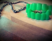 Lime Green Fake Vampire Teeth Rave Necklace