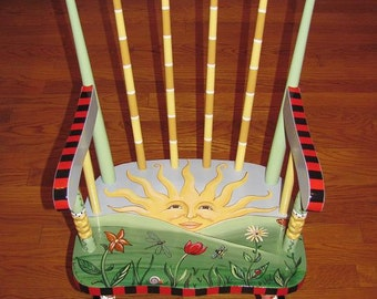 Hand Painted Child's Rocking Chair, custom painted chairs, hand painted furniture, custom gifts for kids, painted rocking chair
