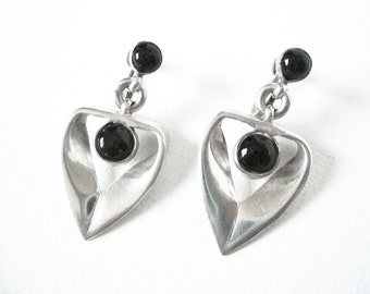 Vintage Emma Menlendez Black Onyx And Sterling Silver Dangle Earrings Taxco Mexico