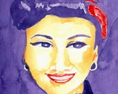 Rockabilly Woman Painting Watercolor 10x10