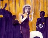 Watercolor Painting Jazz Singer Music Art