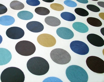 """half yard Laminated Cotton dotty oilcloth fabric in duck egg blue 1.75"""" dots - 52"""" wide by dottyspots fabrics"""