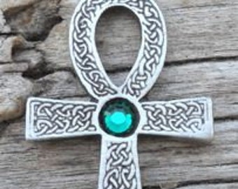 Pewter Ankh Egyptian Cross with Celtic Knots Pendant with Swarovski Crystal Emerald Green MAY Birthstone (31G)
