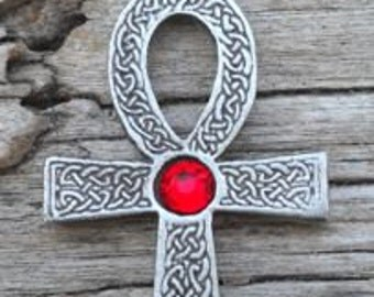 Pewter Ankh Egyptian Cross with Celtic Knots Pendant with Swarovski Crystal Ruby Red JULY Birthstone (31G)