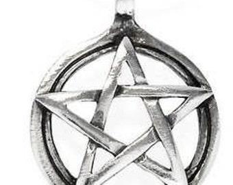 Pewter Pentagram Pagan Wiccan Pentacle Pendent (29I)