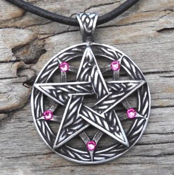 Pewter Double Pentagram Celtic Pagan Pentacle Pendant with Swarovski Crystal Pink Tourmaline OCTOBER Birthstone (56I)