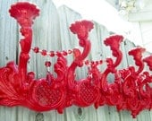 SALE Magnificent Ruby Red Lacquered Rococo Victorian Upcycled Wall Chandelier Candelabra