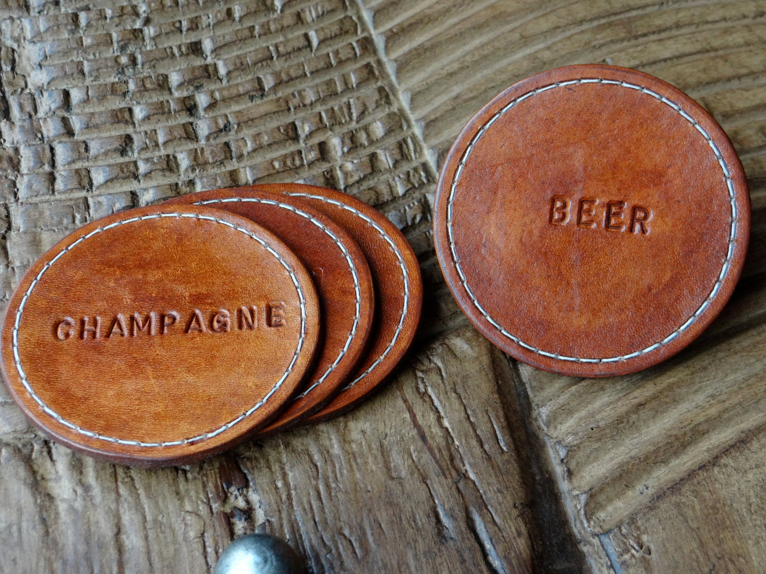 Round Leather Coaster Set Of 4 Humorous Novelty Fun Wine