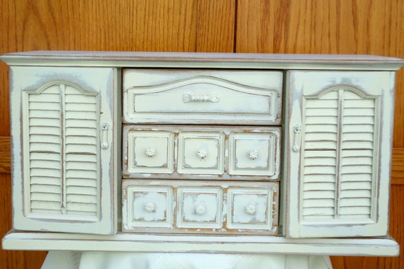 French Country Large Jewelry Box, Solid Wood, De-stressed Creamy White