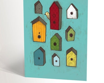 Illustrated card with bird houses | greeting card for moving | new house | houses with vivid colors | ornithology | 4,25'' X 5,5''