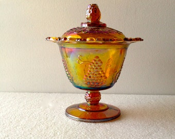Vintage Indiana Carnival Glass Gold Harvest Lace Edge  Lidded Candy Dish  Compote Or Spooner