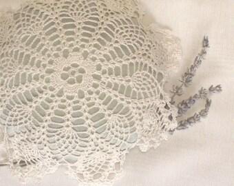 Lavender Sachet, Silk with Lace Applique.