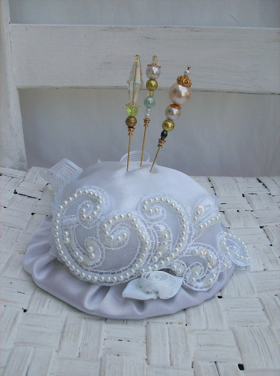 White Hat Pin Cushion with Handmade Hat Pins