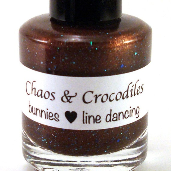 Bunnies Love Line Dancing - Brown Nail Polish - Holographic Blue Glitter - Full Size
