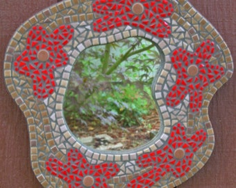 Mosaic Accent Mirror, contemporary free-form with red flowers and vintage tile, hand-clipped porcelain tile, gift, statement piece