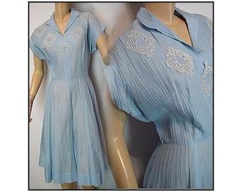Vintage 1950s Dress Cotton Blue Gracette New York Rockabilly Garden Party Mad Men Couture Pinup Bombshell Femme Fatale Designer Size L - XL