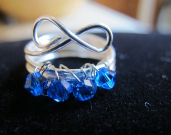 Wire wrapped birthstone infinity ring for children with sapphire Swarovski crystals, SEPTEMBER, children's jewelry