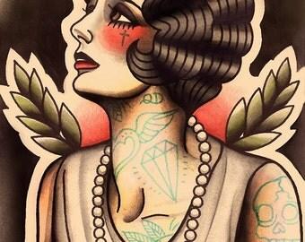 Melancholic Flapper Tattoo Art Print