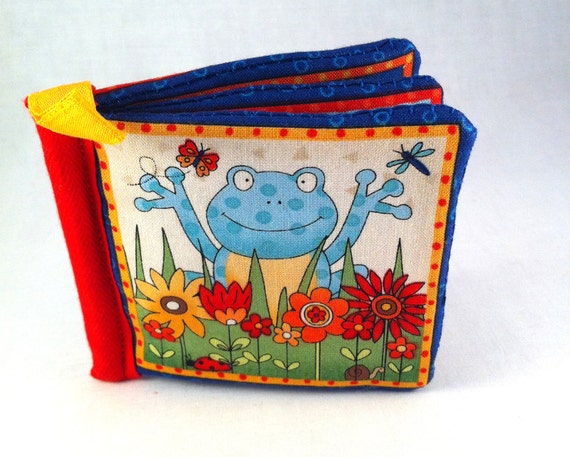 Baby soft cloth toy book in Frogs design