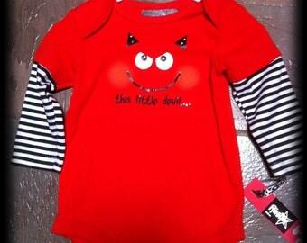 Baby Devil Costume, One piece crawler  Hallowen studded