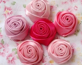 6 Handmade Ribbon Rolled Roses (1-1/4 inches) in White MY-025 -01 Ready To Ship