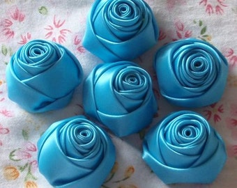 6 Handmade Ribbon Rolled Roses (1-3/8 inches) in Turquoise MY-014 - 59 Ready To Ship
