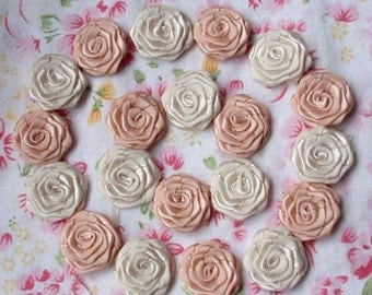 20 Small Handmade Roses (3/4 inches) In Moonstone,Cream  MY30-26 Ready To Ship