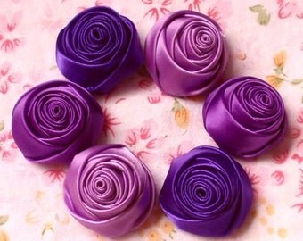 6 Handmade Rolled Roses (1-1/4 inches) in Grape, Purple, Regal Purple MY-025 -13 Ready To Ship