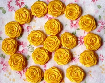 20 Small Handmade Ribbon Roses (3/4 inches) In Yellow Gold MY-024-119  Ready To Ship