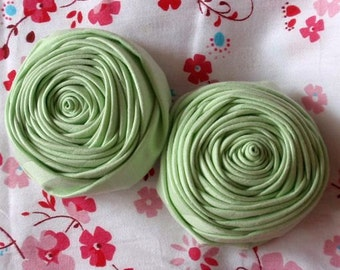 2 Handmade Fabric Rolled Roses (2.5 inches) In Lt Green MY- 72-03  Ready To Ship