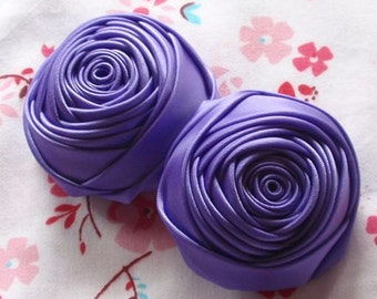 2 Handmade Rolled Ribbon Roses (2 inches) in Deiphinium MY-012 -87 Ready To Ship
