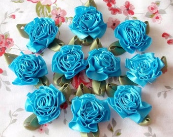 10 Handmade Ribbon Flowers With Leaves (1-1/4 inches) In Turquoise MY-021- 59 Ready To Ship