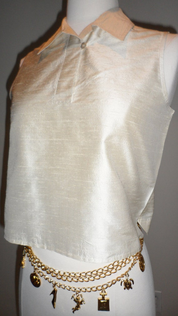 emanuel l ungaro cream silk  textured vest shirt collared size   4 /38  would fit several sizes