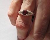 RESERVED FOR JULIE/6 mm Round Sterling Engraved Garnet Ring