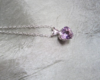 Petite Lavender Amethyst Heart Pendant