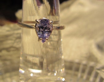 Pear Tanzanite Sterling Silver Ring