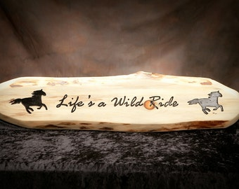 "Carved western sign,  carved rustic sign, equine sign, custom carved wood sign.   8"" x 34"""