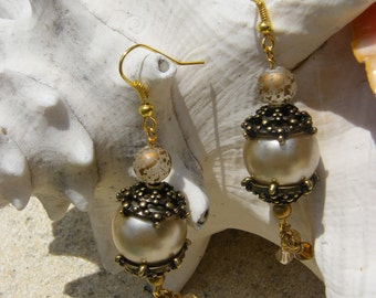 Earrings - Beaded with Larger Pearl and antiqued caps and crystals