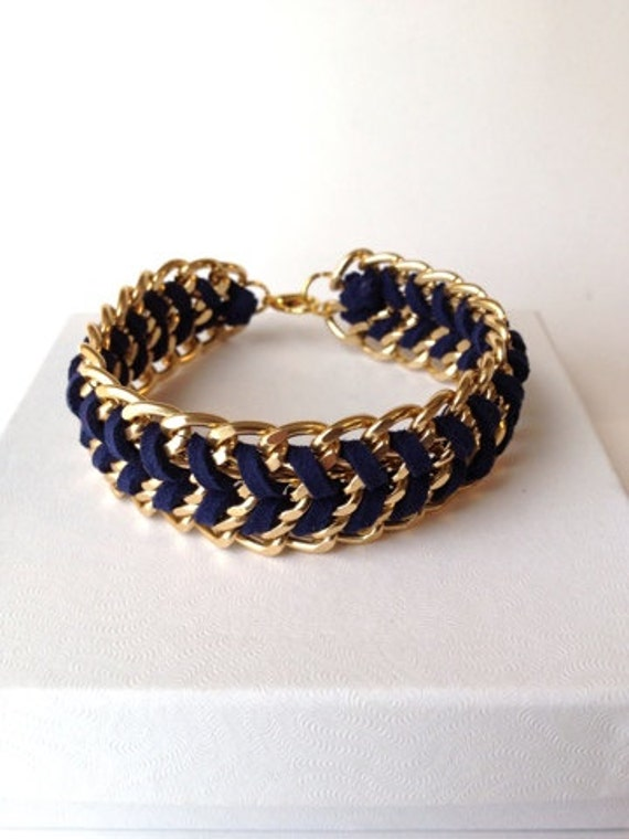 Woven Chain Bracelet in Navy Blue