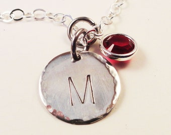 Initial Necklace with Gemstone in Sterling Silver and Personalized - N0055