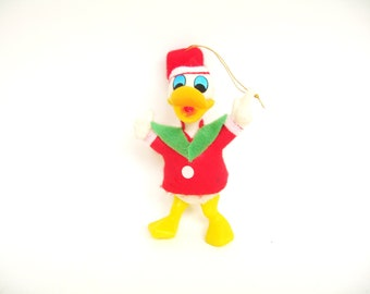 Vintage Flocked Donald Duck Ornament Disney