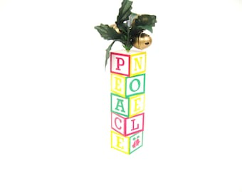 Vintage Noma Ornament Peace Letter Blocks Ornamotion