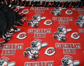 Cincinnati Reds Fleece Tie Blanket - MLB Baseball No Sew - ANY SPORTS Team Available - Custom Made Patterns, Designs
