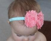 Peach Coral Shabby Chiffon Flowers on Aqua Glitter Skinny Baby Headband