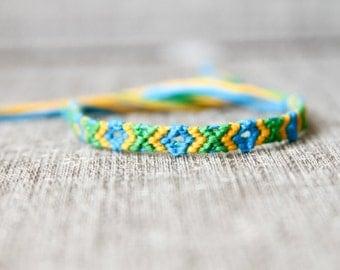 Frienship Bracelet Embroidery Bracelet Yellow Blue and Green Turquoise Tribal Geometric Southwestern Diamond Pattern